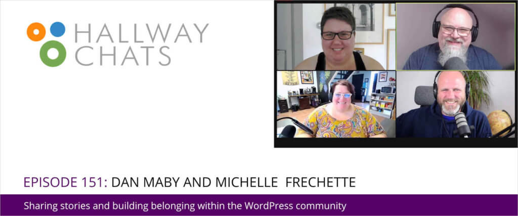 Hallway Chats Banner, Screenshot of Attendees, Dany Maby, Michelle Frechette, Topher DeRosia, Cate DeRosia